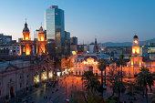Plaza De Armas, Santiago Chile at dusk