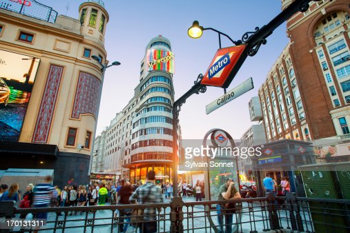 Plaza de Callao and Gran Via at night. Madrid, Spa