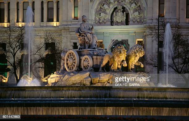 Plaza de Cibeles with the fountain of the same name 18th century Madrid Spain
