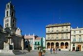 Plaza de San Francisco de Asis with the church of the same name and the Lion Fountain Old Havana Havana Cuba