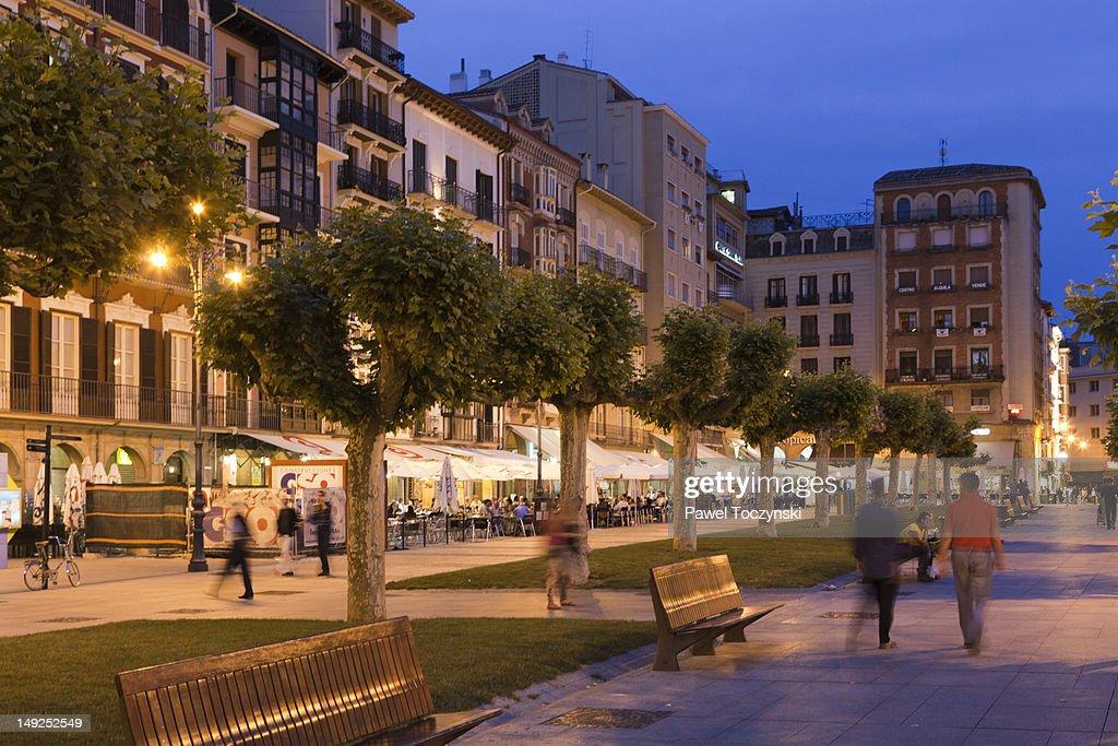 Plaza del Castillo in Pamplona, Spain : Stock Photo