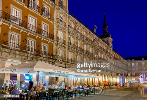 Plaza Mayor Cafes Dusk Stock Photo  Getty Images