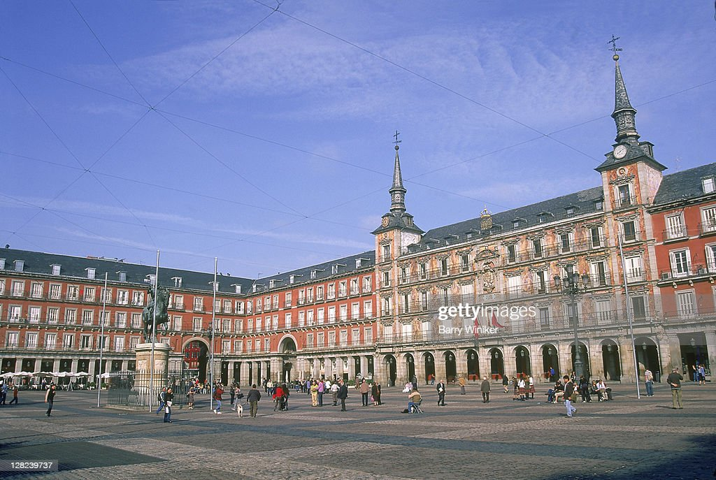 Plaza Mayor with Casa de la Panaderia, Madrid, Spain : Stock Photo