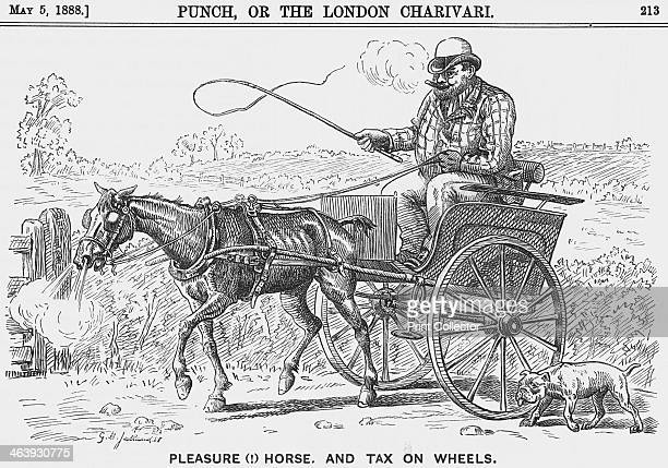 'Please Horse and Tax on Wheels' 1888 A stout welldressed gentleman is sitting comfortably as his poor thin horse drags the trap over the stony...