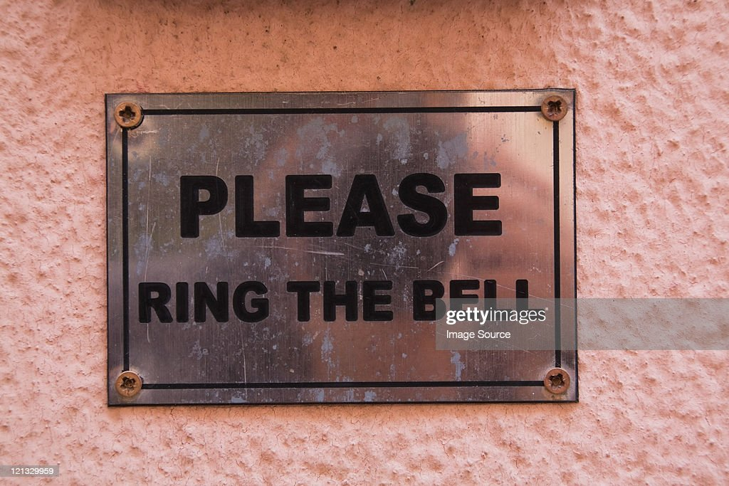 Please ring the bell sign : Stock Photo