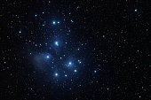 Pleiades open star cluster(Seven sisters, M45).