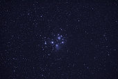 A time exposure astrophoto of the Pleiades star cluster