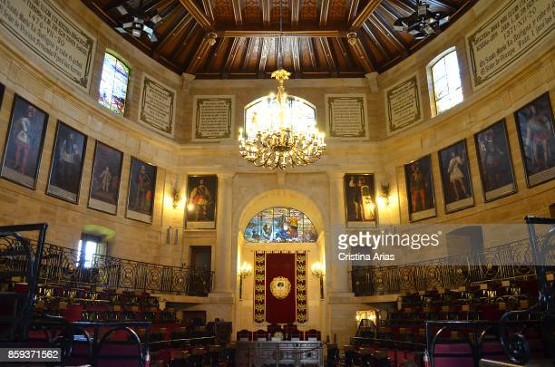 Plenary hall of The Assembly House Casa de Juntas in Gernika on 19 June 2017 Vizcaya Basque Country Spain