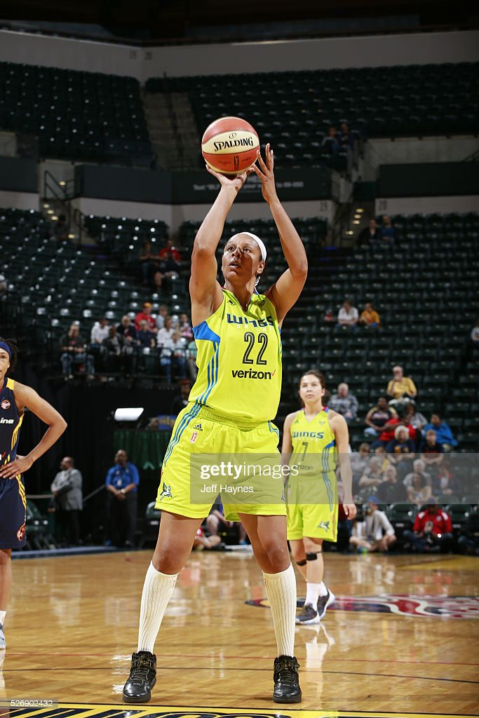 <a gi-track='captionPersonalityLinkClicked' href=/galleries/search?phrase=Plenette+Pierson&family=editorial&specificpeople=214145 ng-click='$event.stopPropagation()'>Plenette Pierson</a> #22 of Dallas Wings shoots a free throw against the Indiana Fever during a preseason game on May 1, 2016 at Bankers Life Fieldhouse in Indianapolis, Indiana.