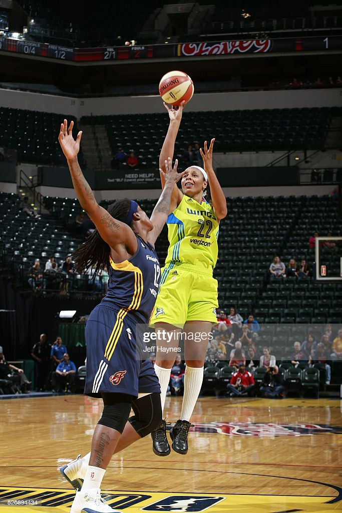 Plenette Pierson #22 of Dallas Wings shoots the ball against the Indiana Fever during a preseason game on May 1, 2016 at Bankers Life Fieldhouse in Indianapolis, Indiana.