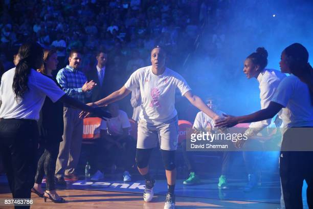 Plenette Pierson of the Minnesota Lynx gets introduced before the game against the Phoenix Mercury on August 22 2017 at Xcel Energy Center in St Paul...