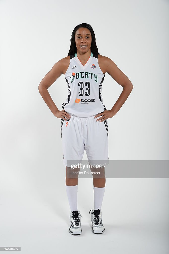 Plenette Pierson #33 of the New York Liberty poses for a portrait during 2014 WNBA Media Day at the MSG Training Facility on May 12, 2014 in Tarrytown, New York.