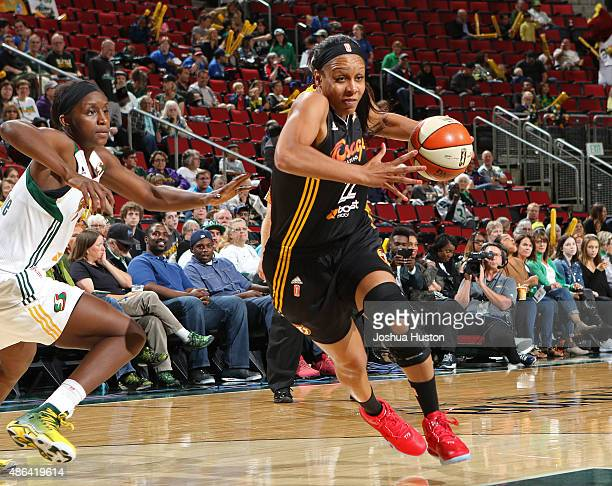Plenette Pierson of the Tulsa Shock drives to the basket against the Seattle Storm September 3 2015 at Key Arena in Seattle Washington NOTE TO USER...