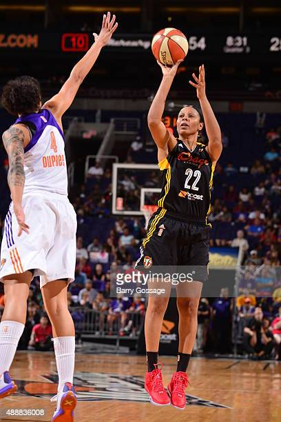 Plenette Pierson of the Tulsa Shock shoots the ball against the Phoenix Mercury during Game One of the WNBA Western Conference Semifinals on...