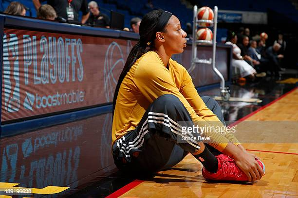 Plenette Pierson of the Tulsa Shock stretches before Game Two of the WNBA Western Conference Semifinals against the Phoenix Mercury on September 19...