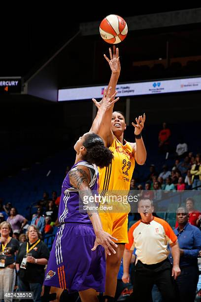 Plenette Pierson of the Tulsa Shock takes a shot against the Phoenix Mercury on July 30 2015 at the BOK Center in Tulsa Oklahoma NOTE TO USER User...