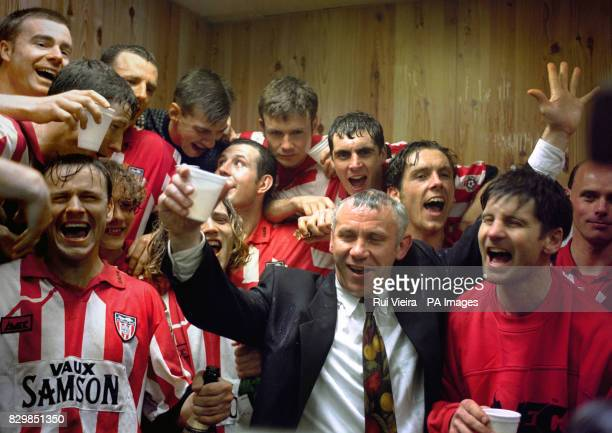 Plenty to celebrate in the Sunderland dressing room after today's match against Stoke City with Peter Reid the manager and his side enjoying...