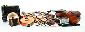 Many instruments piled together to form a long photograph.