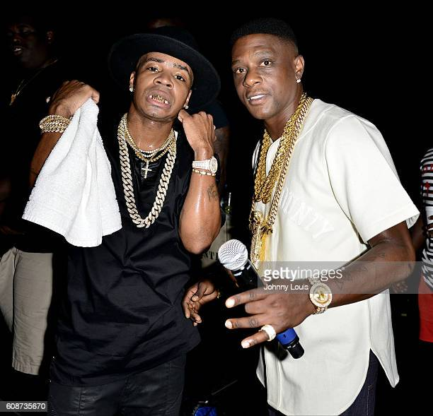 Plies and Boosie Badazz formerly Lil Boosie backstage during the Kings of the Streets Tour at James L Knight Center on September 17 2016 in Miami...