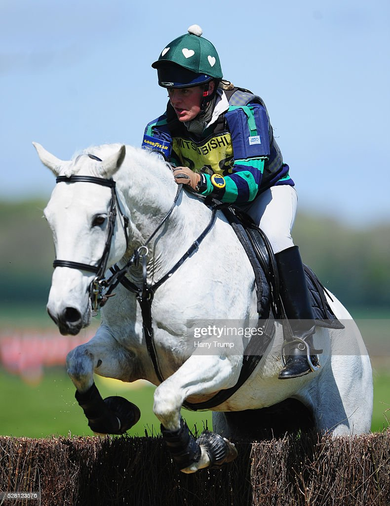 Plimsolls Line ridden by Emma Gibbon jumps a fence during the Mitsubishi Motors Cup Cross County Race during Day One of the Badminton Horse Trials on May 4, 2016 in Badminton, Untied Kindom.