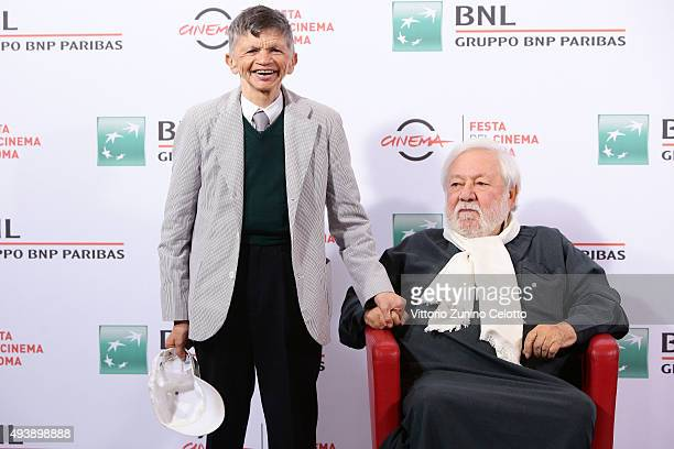 Plinio Fernando and Paolo Villaggio attend a photocall for 'Fantozzi' during the 10th Rome Film Fest on October 23 2015 in Rome Italy