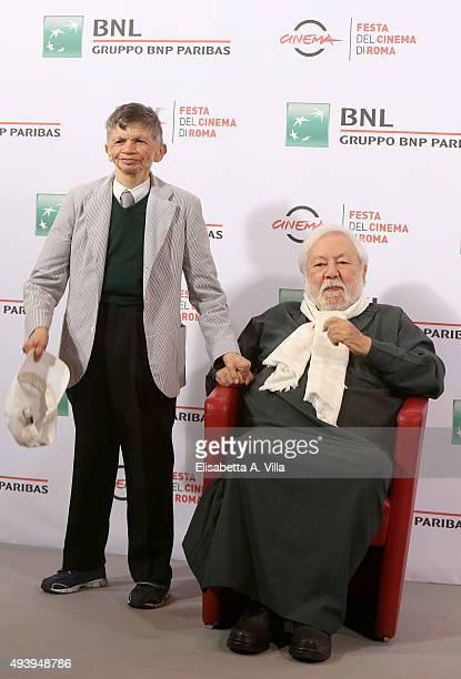 Plinio Fernando and Paolo Villaggio attend a photocall for 'Fantozzi' during the 10th Rome Film Fest at Auditorium Parco Della Musica on October 23...