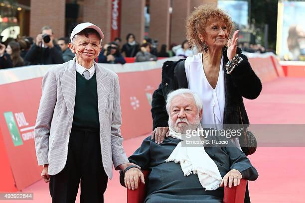 Plinio Fernando Paolo Villaggio and Anna Mazzamauro attend a red carpet for 'Fantozzi' during the 10th Rome Film Fest on October 23 2015 in Rome Italy