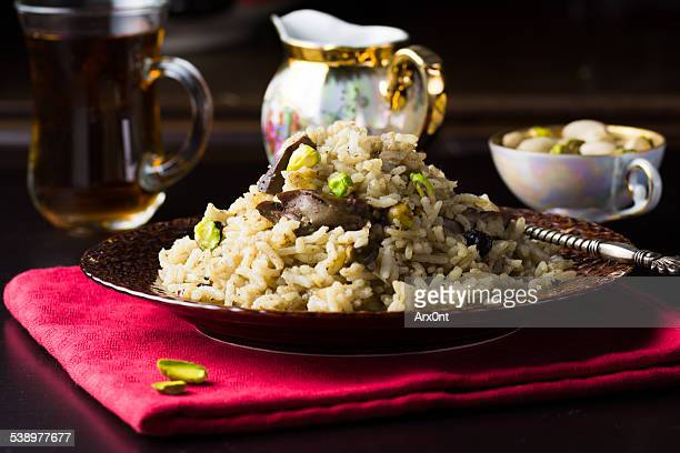 Plov with chicken liver and pistachios