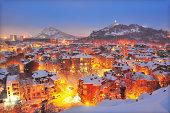 Plovdiv city on snow, night view