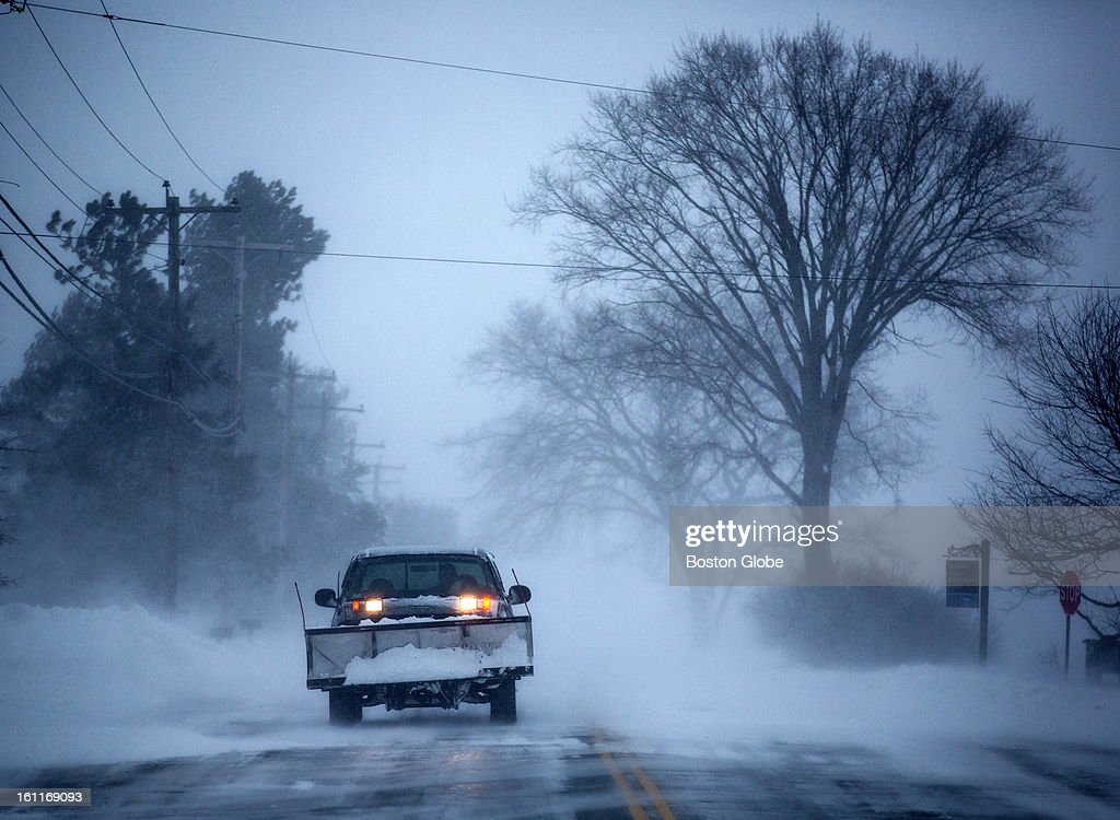 A plow made its way along the Plum Island Turnpike in Newburyport as a large winter storm hit the region.