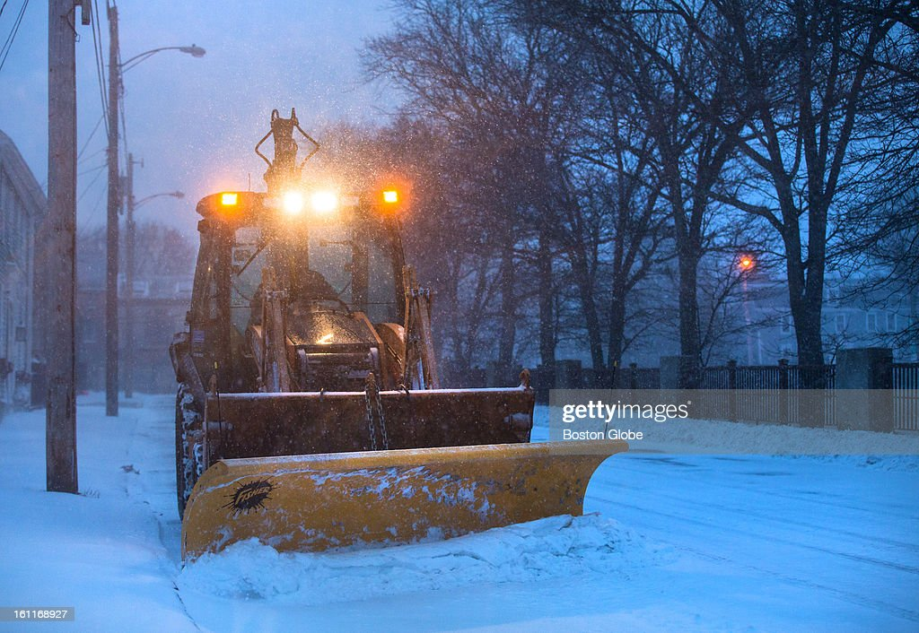 A plow made its way down Summer Street as a winter storm, expected to dump as much as 24 inches of snow in the region, intensified in Newburyport.