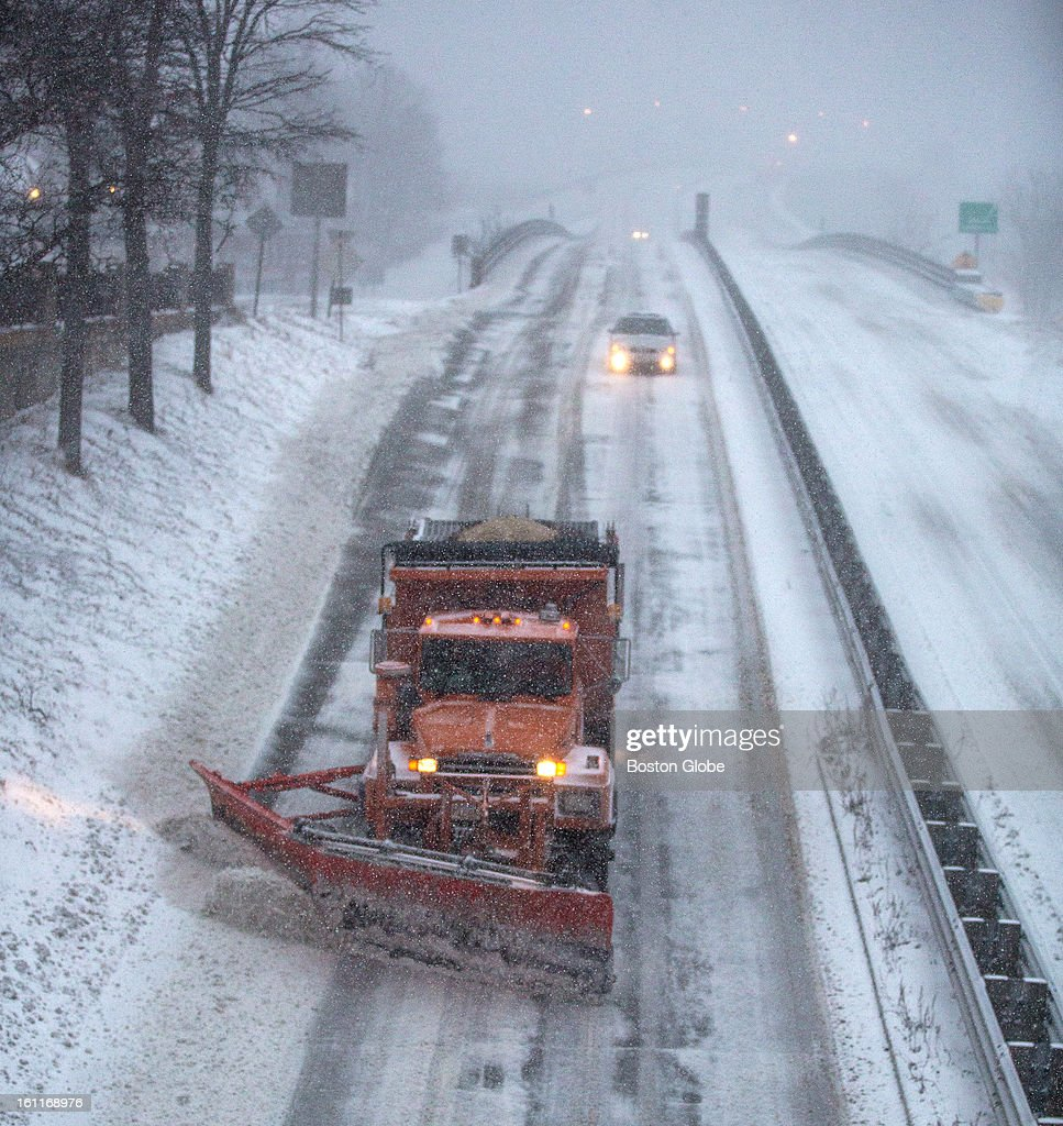 Plows cleared the Newburyport Turnpike in Newburyport as a winter storm, expected to dump as much as 24 inches of snow in the region, intensified in Newburyport.