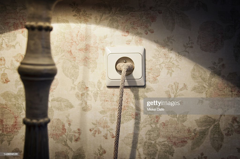 Plug and power cable with crocheted 'jacket' : Stock Photo