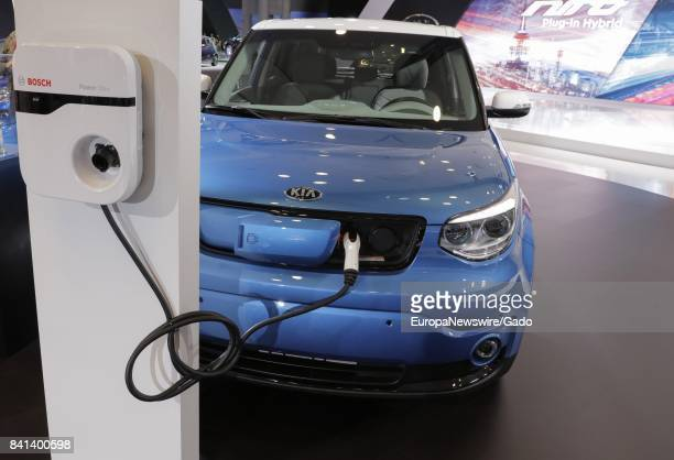 Plug in electrical car from the automotive company Kia at the 2017 New York International Auto Show Press Day at Jacob K Javits Convention Center in...