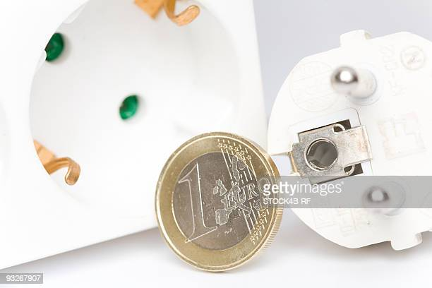 Plug, socket and one euro coin, Germany