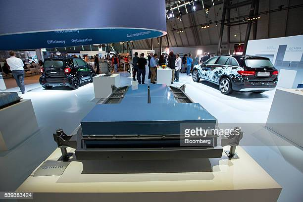 A plugin hybrid automobile battery pack manufactured by Deutsche Accumotive a unit of Daimler AG sits on display during Daimler's TecDay Road to the...