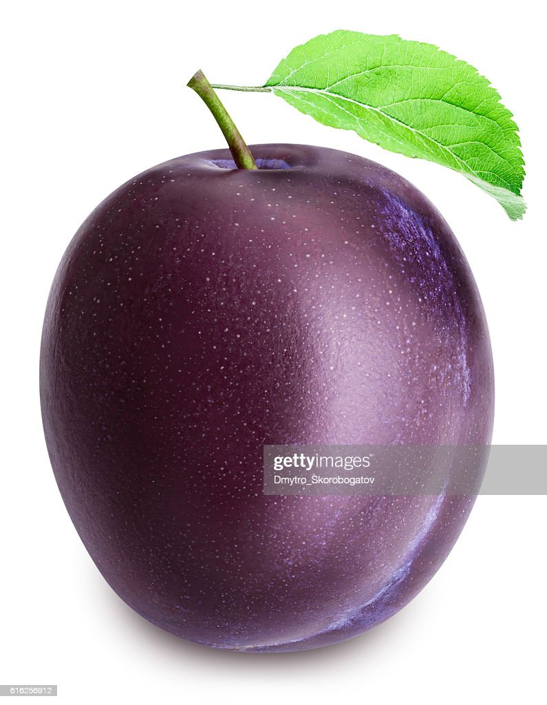 Plum isolated on white backgroun with clippin path : Foto de stock