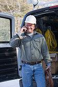 Plumber attending a service call