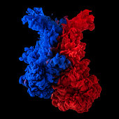 Paint in water. Red and blue blending together on black background