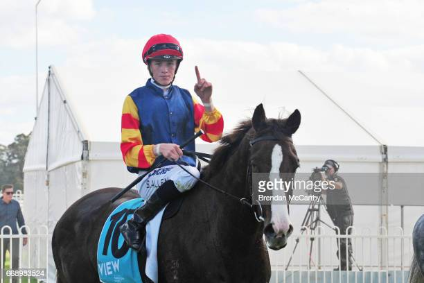 Plus Effronte ridden by Ben Allen returns to the mounting yard after winning the Stawell Glass Maiden Plate at Stawell Racecourse on April 16 2017 in...