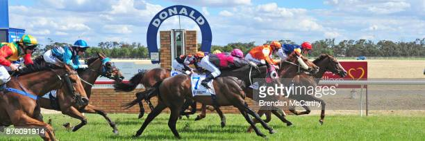 Plus Effronte ridden by Ben Allen wins the Classicbet in the App Store BM70 Handicap at Donald Racecourse on November 19 2017 in Donald Australia