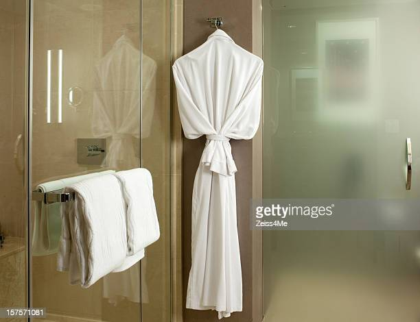 Plush bathrobe in upscale bathroom