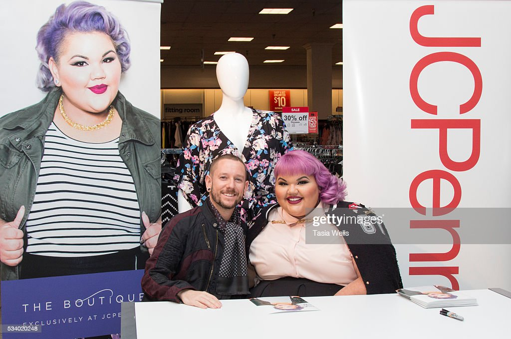 Plus-size fashion designer and winning reality TV star Ashley Nell Tipton poses with fan at the launch of JC Penny's newest plus size collection, Boutique+ at the Glendale Galleria on May 24, 2016 in Glendale, California.