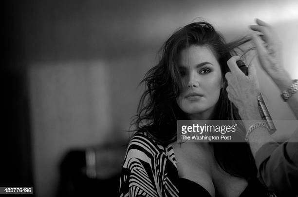 NEW YORK NY Plussize model Candice Huffine during a fashion shoot at Brown's Studio in Soho New York NY April 7 2015 The size 14 model who grew up in...