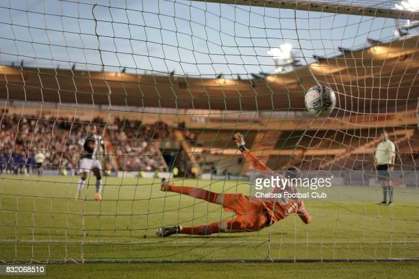 Plymouth Argyle score one of their five successful penalty kicks in the shoot out during the Checkatrade Trophy match at Home Park on August 15 2017...