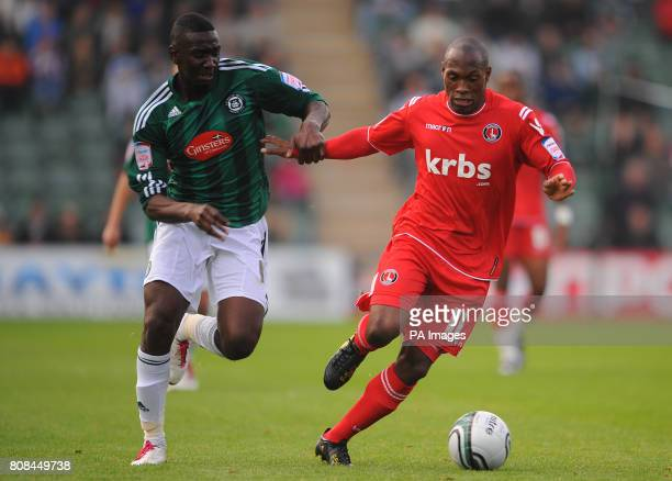 Plymouth Argyle's Yala Bolasie and Charlton Athletic's Kyel Reid during the npower League One match at Home Park Plymouth
