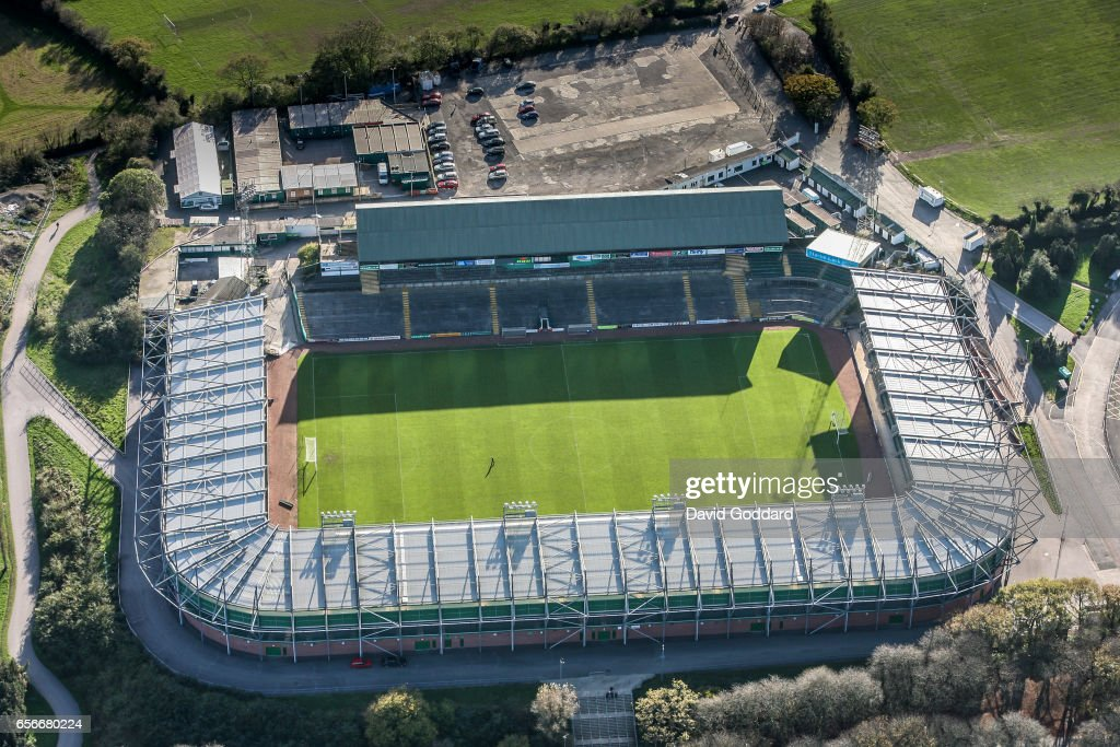 Plymouth England November 01 Aerial View Of Home Park Football Ground To