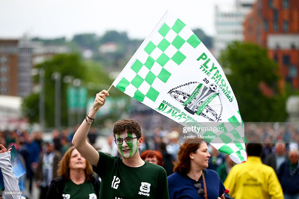 A Plymouth fans make their way to the stadium ahead of the Sky Bet League Two Play Off Final match between Plymouth Argyle and AFC Wimbledon at Wembley Stadium on May 30, 2016 in London, England.