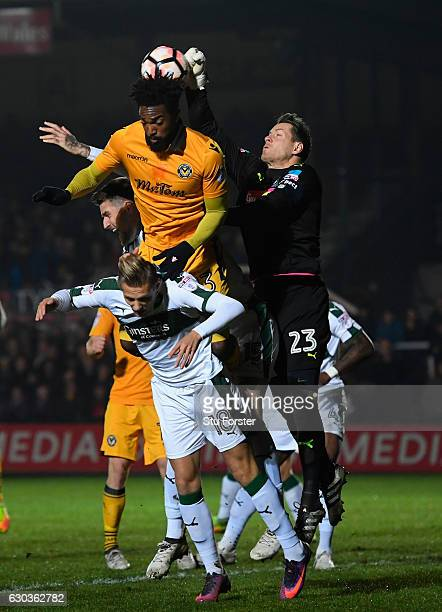 Plymouth goalkeeper Luke McCormack clears the danger during The Emirates FA Cup Second Round Replay between Newport County and Plymouth Argyle at...