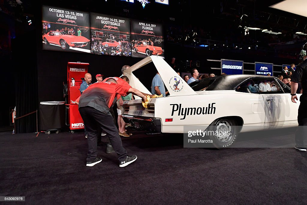 Plymouth Hemi Superbird is auctioned at the Barrett-Jackson Inaugural Northeast Auction at Mohegan Sun Arena on June 25, 2016 in Uncasville, Connecticut. Organizers estimated app. 70,000 vistors attended the three day auction June 23-25 during which hundreds of collectors were sold at auction.